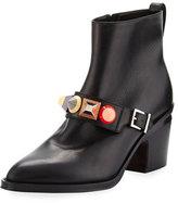 Fendi Rainbow-Stud Leather Bootie, Nero/Multi