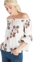 Sole Society Embroidered Off the Shoulder Top