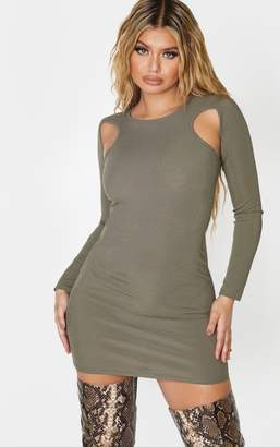 PrettyLittleThing Khaki Ribbed Underarm Cut Out Bodycon Dress