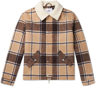NN07 Louis Faux Shearling-Trimmed Checked Wool-Blend Jacket