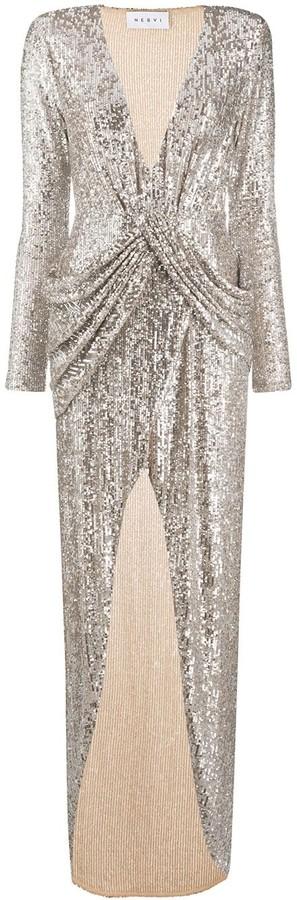 NERVI Sequin-Embellished Draped Cocktail Dress