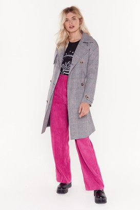 Nasty Gal Womens Check on It Longline Belted Trench Coat - grey - 8
