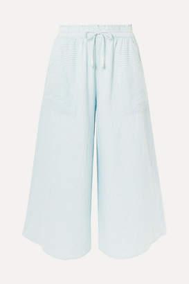 Apiece Apart Galicia Striped Organic Cotton-voile Culottes - Sky blue