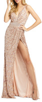 Mac Duggal 6-Week Shipping Lead Time Sequin V-Neck Sleeveless Gown with Thigh Slit