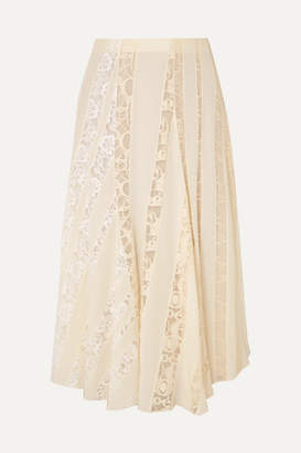 Chloé Lace-paneled Silk Crepe De Chine Midi Skirt - Ivory