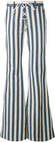 Roberto Cavalli striped flared trousers - women - Cotton/Hemp - 38