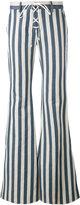 Roberto Cavalli striped flared trousers - women - Hemp/Cotton - 38