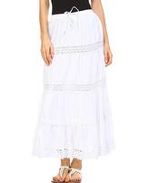 White Boho Tie Maxi Skirt - Plus