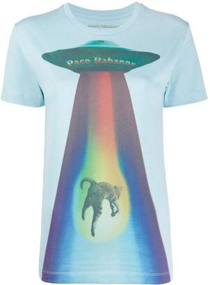 Paco Rabanne Rainbow Cat print round neck T-shirt