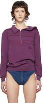 Y/Project Purple Asymmetric Collar Long Sleeve Polo