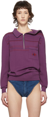 Y/Project Purple Asymmetric Collar Long Sleeve Polo