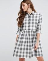 Asos Gingham Smock Shirt Dress