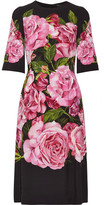 Dolce & Gabbana Floral-print Crepe Dress - Black