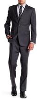 Ike Behar Charcoal Glenplaid Two Button Notch Lapel Wool Suit