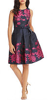 Eliza J Floral Brocade Fit and Flare Dress