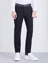 Alexander McQueen Skull-waistband wool-blend trousers
