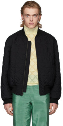 Ann Demeulemeester Reversible Black Wool Quilted Bomber Jacket