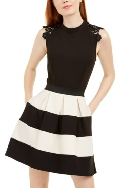 Speechless Juniors' Lace-Trim Shimmer Striped Dress