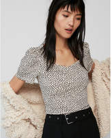 Express dotted sweetheart neck puff shoulder tee