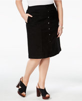 Charter Club Plus Size Tummy-Control Denim A-Line Skirt, Only at Macy's