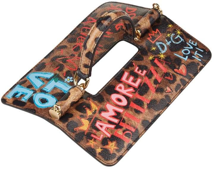 Dolce & Gabbana Leopard Slogan Top Handle Flap