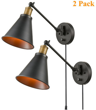 Claxy Rustic Wall Sconces Black Hardwired and Plug in Wall Sconce, Set of 2