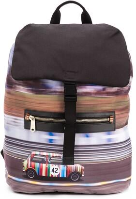 Paul Smith Car Print Zip Detail Backpack