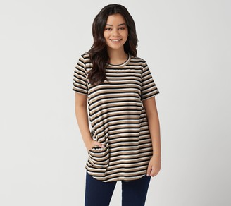 Logo By Lori Goldstein LOGO by Lori Goldstein Metallic Stripe Knit Top with Short Sleeves