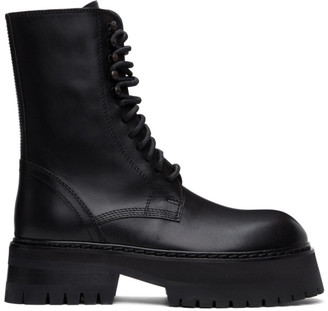Ann Demeulemeester Black Oversized Sole Tucson Lace-Up Boots