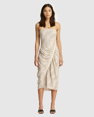 FRIEND of AUDREY - Women's Brown Midi Dresses - Nadine Gathered Linen Print Dress - Size One Size, 8 at The Iconic