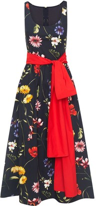 Oscar de la Renta Bow-Detail Floral-Print Midi Dress