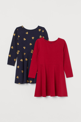H&M 2-pack Jersey Dresses - Red
