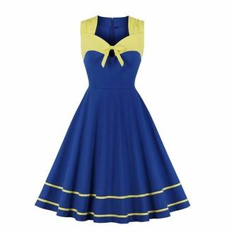 IMEKIS Women Vintage Cocktail Dress 1950s Polka Dots Retro Rockabilly Swing Dress A Line Sleeveless Pleated Skirt Knee Length Wedding Party Evening Prom Ball Gown Navy Blue M