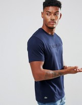 Lacoste Large Embossed Logo T-Shirt In Navy