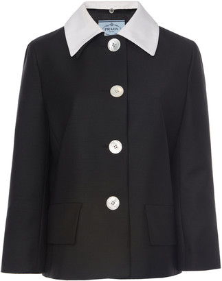 Prada Contrast Collar Mohair Wool Jacket