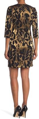 Trina Turk Muni Metallic Gold Jacquard Sheath Dress