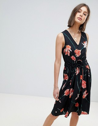 Vero Moda Floral Waist Tie Midi Dress