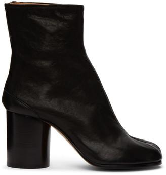 Maison Margiela Black Vintage Mid Heel Leather Tabi Boots