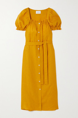 Sleeper Brigitte Belted Linen Midi Dress - Orange