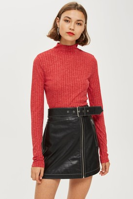 Topshop Womens Red Long Sleeve Funnel Neck Top - Red