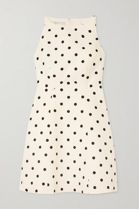 Valentino Polka-dot Wool And Silk-blend Crepe Mini Dress - White