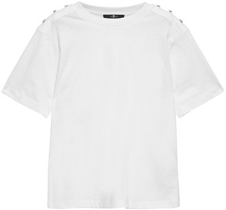 7 For All Mankind Button-embellished Cotton-jersey T-shirt