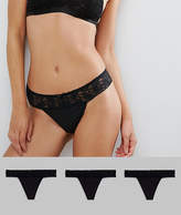 Asos 3 Pack Leafy Lace Band & Microfibre Thong