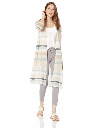 Andrea Jovine Womens Striped and Lightweight Long Cardigan