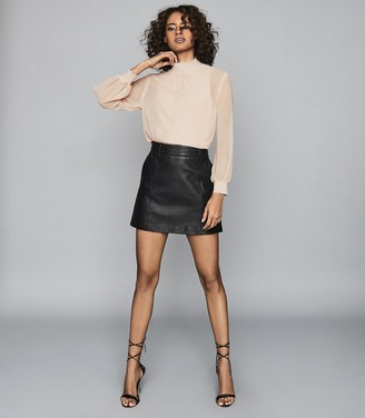 Reiss Mimi - Leather Mini Skirt in Black