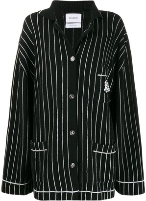 Barrie Striped Dropped-Shoulder Cardigan