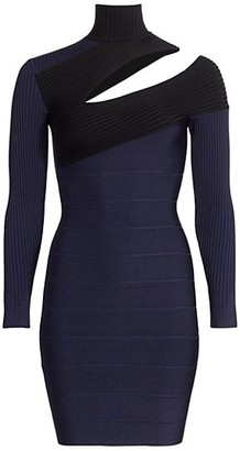 Herve Leger Cutout Mockneck Ribbed Bandage Dress