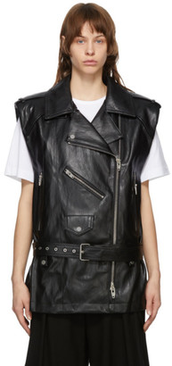Juun.J Black Faux-Leather Vest Jacket