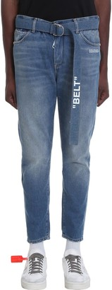 Off-White Slim Low Crotch Jeans In Blue Denim
