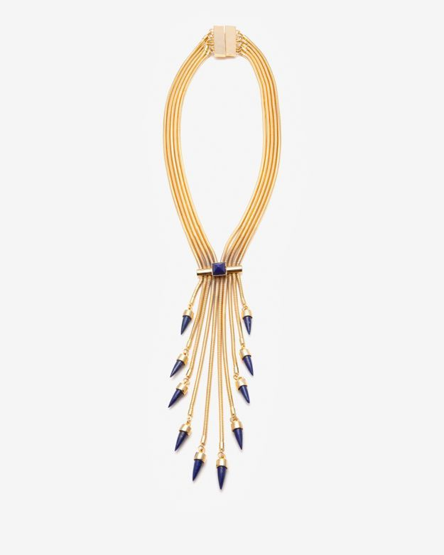 Fallon Exclusuve Tassel Blue Lapis Snake Coil Necklace